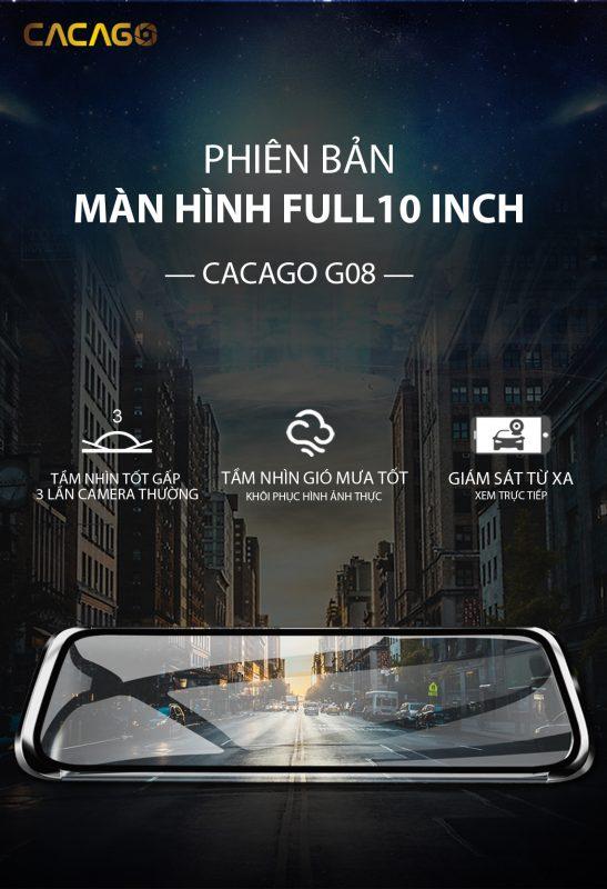 camera hành trình cacago g08 với màn hình full 10 inch