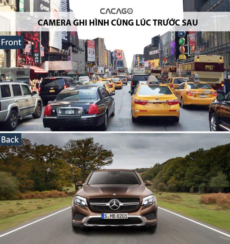 Camera ghi hình cùng lúc trước sau, yên tâm lái xe hằng ngày