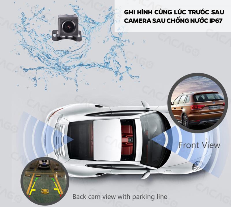 camera hành trình cacago c08a ghi hình trước sau , camera sau chống nước ip67