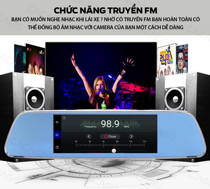 Chức năng truyền FM: Lái xe thư gian hơn với việc đồng bộ âm nhạc với camera của bạn một cách dễ dàng