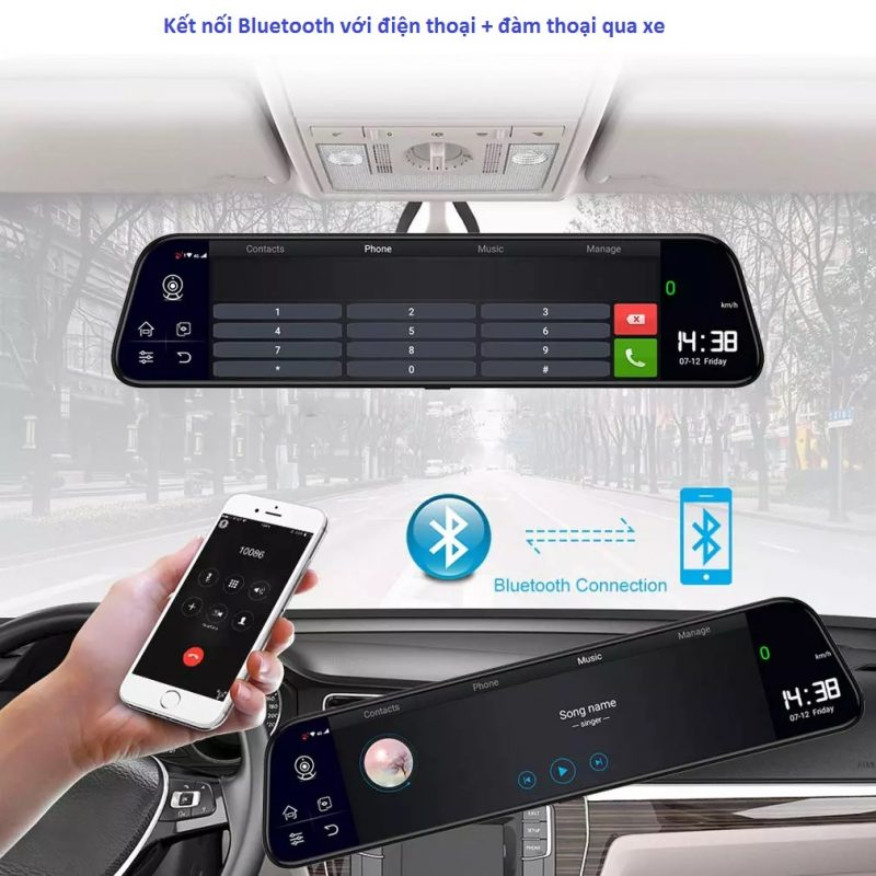camera hành trình kết nối bluetooth với điện thoại + đàm thoại qua xe
